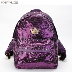 2e5180fb0fb New 2014 fashion women backpack 4 colors big crown embroidered sequin  backpack Women School Bags wholesale