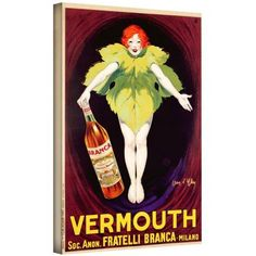 ArtWall Jean D'ylen Poster Advertising Fratelli Branca Vermouth, 1922 inch Gallery-Wrapped Canvas, Size: 16 x 24, Yellow