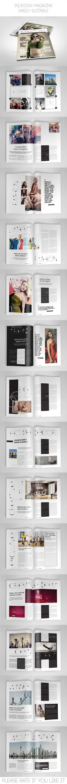 Multipurpose Magazine Template by batebata Multipurpose Magazine TemplateThis is a Multipurpose professional and clean InDesign magazine template that canbe used for any typ