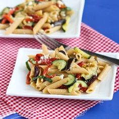 Roasted Vegetable Pasta Salad with Eggplant, Zucchini & Feta Cheese