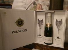 Champagne Pol Roger met 2 champagneflutes in luxe giftbox