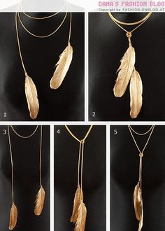 gold feather necklace...  Wish this was silver...  So pretty