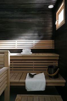 Sauna Room, Blinds, House Plans, Home Appliances, Cottage, Curtains, Sauna Ideas, Saunas, Bathroom Designs
