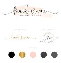 "Watercolor Branding Kit ""Peach Creme"" - logo design- pre-made logo- CUSTOM LOGO by PeachCreme on Etsy"