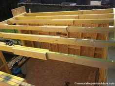 Pergola Front Of House Shed Frame, Framing Construction, Diy Storage Shed, Outdoor Play Spaces, Wood Joints, Attic Design, Garden Studio, Modern House Plans, Pergola Plans