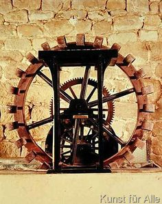 Leonardo nach da Vinci - Model of a water wheel from one of Leonardo's drawings
