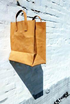 Vegetable Tanned Leather Grocery Bag. Paper bag style.. $150.00, via Etsy.-SR