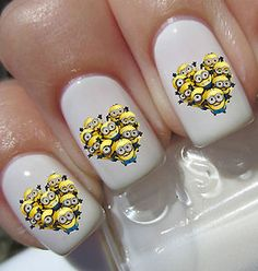 Despicable Me minion nails Funky Nail Art, Cool Nail Art, Nails Opi, My Nails, Super Cute Nails, Pretty Nails, Minion Nail Art, Minions, Disney Nails