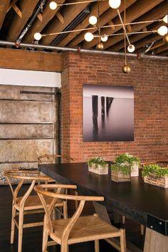 exposed brick dining room walls
