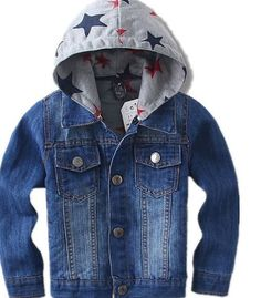 32177490aae STAR HOODED DENIM JACKET Boys and Girls Denim Star Print Hooded Jacket with  lining for warmth. This item is high quality and made to order with an  exclusive ...