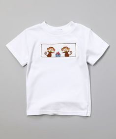 Love this White & Brown Monkey Tee - Infant, Toddler & Boys by Silly Goose on #zulily! #zulilyfinds
