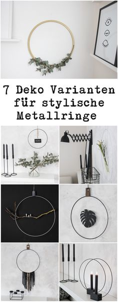 DIY Design Kranz/Ring 7 Variationen 7 variants of rings and wreaths in Scandinavian style to decorate Diy Design, Home Design, Upcycled Home Decor, Diy Home Decor, Wreath Rings, Hobbies For Women, Hobby Room, Hobby Hobby, Scandinavian Style