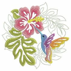 Ace Points Embroidery Design: Tropical Hummingbird 3.82 inches H x 3.83 inches W