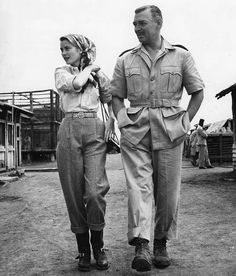 Grace Kelly and Clark Gable on the set of 'Mogambo'