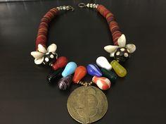 Afrocentric Jewelry - Boule Pendant, Mali Wedding bead and Nigerian Vinyl Necklace #SbAfroJewelz