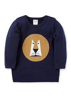100% Cotton knitted sweater featuring front lion intarsia. Buttons on shoulder for easy dressing.