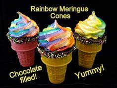 Rainbow Meringue Chocolate Filled Cones- with Rainbow Treats, Rainbow Food, Chocolate Filling, Chocolate Ganache, Chocolate Chips, Dessert Recipes, Drink Recipes, Desserts, Cupcake Cones