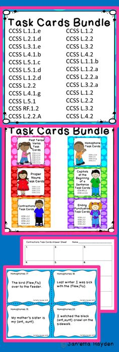 Download now or pin to your L/A Board! This is a BUNDLE of grammar task cards. This is a growing bundle. This means that you purchase it at this low price and each time I add a new set of task cards, you get them free.