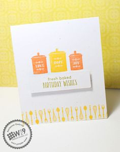 Kerrianne Bowen for Wplus9 featuring Fresh Baked stamp set.