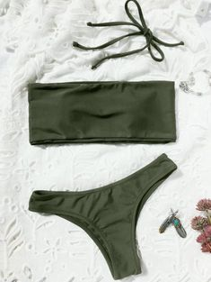 6932b5ad56 Chic high cut two piece swimwear feature a bandeau collar top with a padded  bust