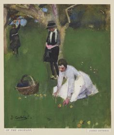 Sir James Guthrie (1859-1930), In the Orchard; Pencil, watercolour and bodycolour