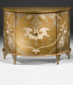 hand-painted four door demilune cabinet |  hand-painted furniture