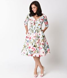 Flowers say it best, dear! Rosie is a 1950s retro cotton swing dress fresh from…