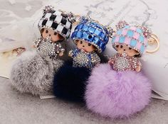 7 Colors Monchichi Baby Fur Ball Keychain Bag Charm (KCcm) Keyring Rhinestones Strass
