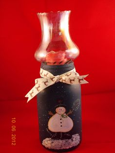 Mason jar candle holder with a painted snowman by Pippisdesigns, $20.00