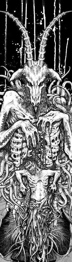 Christ Puppet by Riddickart. Traditional Art / Drawings / Macabre Horror Skateboard deck for Jim Booth/SVART KULT, 2007 Arte Horror, Horror Art, Dark Fantasy, Fantasy Art, Gravure Photo, Satanic Art, Satanic Tattoos, Macabre Art, Occult Art