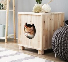 Wooden Cat House Pet Furniture Kitty's Home Condo Japanese Cedar Tree #Unbranded