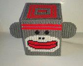 Handmade Sock Monkey Tissue Box Cover Plastic Canvas