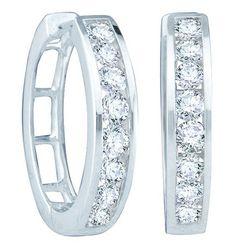 Jewelcology 14k White Gold 0.50CT Round White Diamond Fashion Earrings Earring