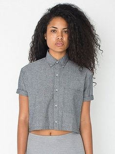 Chambray Cropped Short Sleeve Button Down Shirt