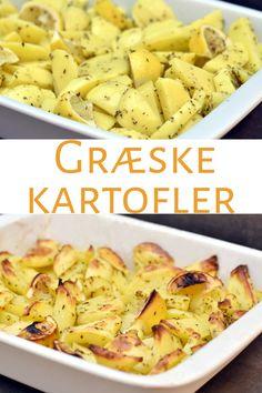 Græske kartofler Potato Pasta, Potato Salad, Food Inspiration, Cooking Tips, Side Dishes, Vegetarian Recipes, Good Food, Food And Drink, Gratin