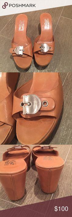 Ferragamo wedges Ferragamo tan wedges in perfect condition. Worn once. Size 71/2 B Salvatore Ferragamo Shoes Wedges