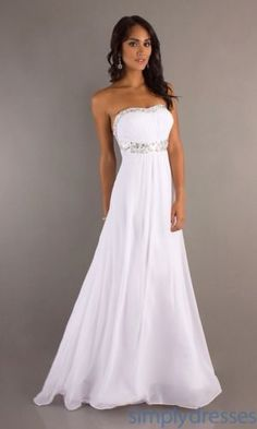 NEW, Strapless White Prom Dress