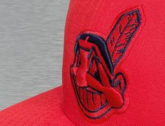 Custom Cleveland Indians Seasonal Contrast Hot Red-Light Navy 59Fifty Fitted Baseball Cap by NEW ERA x MLB