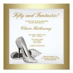 White Gold High Heels Womans 50th Birthday Invitation