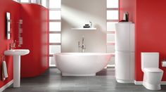 Oke's soft, sensuous curves together with our amazing egg-shaped bath create an easy, relaxed feel that can be balanced beautifully with a dramatic splash of colour. #bathroom  http://bq.co.uk/M6hEce