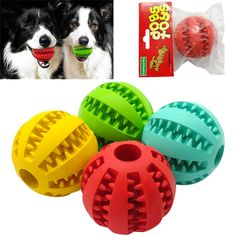 Soft Rubber Chew Ball Toy For Dogs Dental Bite Resistant Tooth Cleaning Dog Toy Balls for Pet Training Playing Chewing 4 Colors // Worldwide FREE Shipping //     #petsupplies