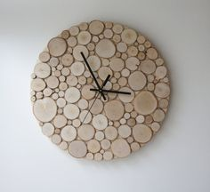 """$82.00 natural white birch forest wood clock (Large) - 14"""", heat and initials, modern rustic wall clock, wood slices wall art, wall hanging"""