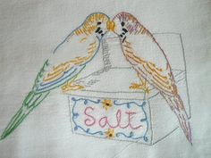 Budgie Parakeets Birds Salt Vtg Embroidered Kithen Dish Towel | eBay