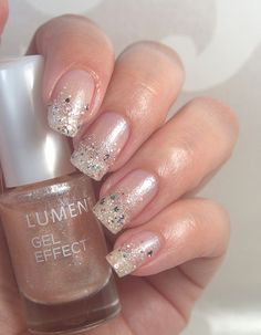 Dazzling mix of shimmer and sparkle! Nail blogger Charming Nails combined Lumene Gel Effect Nail Polish shades 58 Dazzling Dreams and 59 Shimmering Light for these show-stopping party nails. #nailpolish #lumene