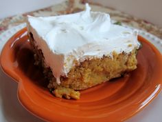 Pumpkin Crunch by Plain Chicken 1 can pumpkin 1 can evaporated milk 1 cup sugar 1 tsp pumpkin spice 3 eggs 1 oz box yellow cake mix 1 cup chopped pecans cup butter, cut in pieces 1 container cool-whip 8 oz cream cheese, softened cup confectioners Dessert Health Desserts, Just Desserts, Delicious Desserts, Dessert Recipes, Yummy Food, Dessert Ideas, Dessert Healthy, Dessert Bars, Cake Bars