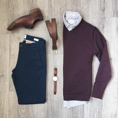 """""""No Jacket Needed Today Shirt, Sweater, Belt: Frank + Oak Chinos: Gap Watch: Original Grain …"""" Mode Outfits, Casual Outfits, Men Casual, Fashion Outfits, Smart Casual, Fashion Clothes, Grunge Outfits, Fashion Mode, Mens Fashion"""