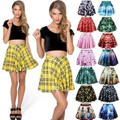 Fashion Womens Girls Sexy Stylish Pattern Print Elastic Waist Skirt Dress 15 Colors