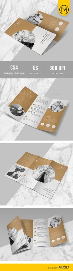 Texture bg with image overlay - eg. Concrete or gold texture with image over; Texture bg with image overlay - eg. Concrete or gold texture with image over; and events logo white on the texture Trifold Brochure Template InDesign INDD Layout Design, Design De Configuration, Flugblatt Design, Buch Design, Logo Design, Poster Design, Print Layout, Flyer Design, Brochure Indesign