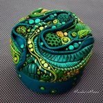 Organic Leaves and Pods Blue Green Jar by MandarinMoon
