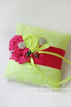 Fuchsia Lime Wedding Ring Pillow Bearer Ring Pillow Lace Fuchsia Wedding Bright Ring Pillow Wedding Ring holder ring bearer pillow wedding